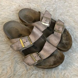 Birkenstock Arizona gold sandals slip on shoes